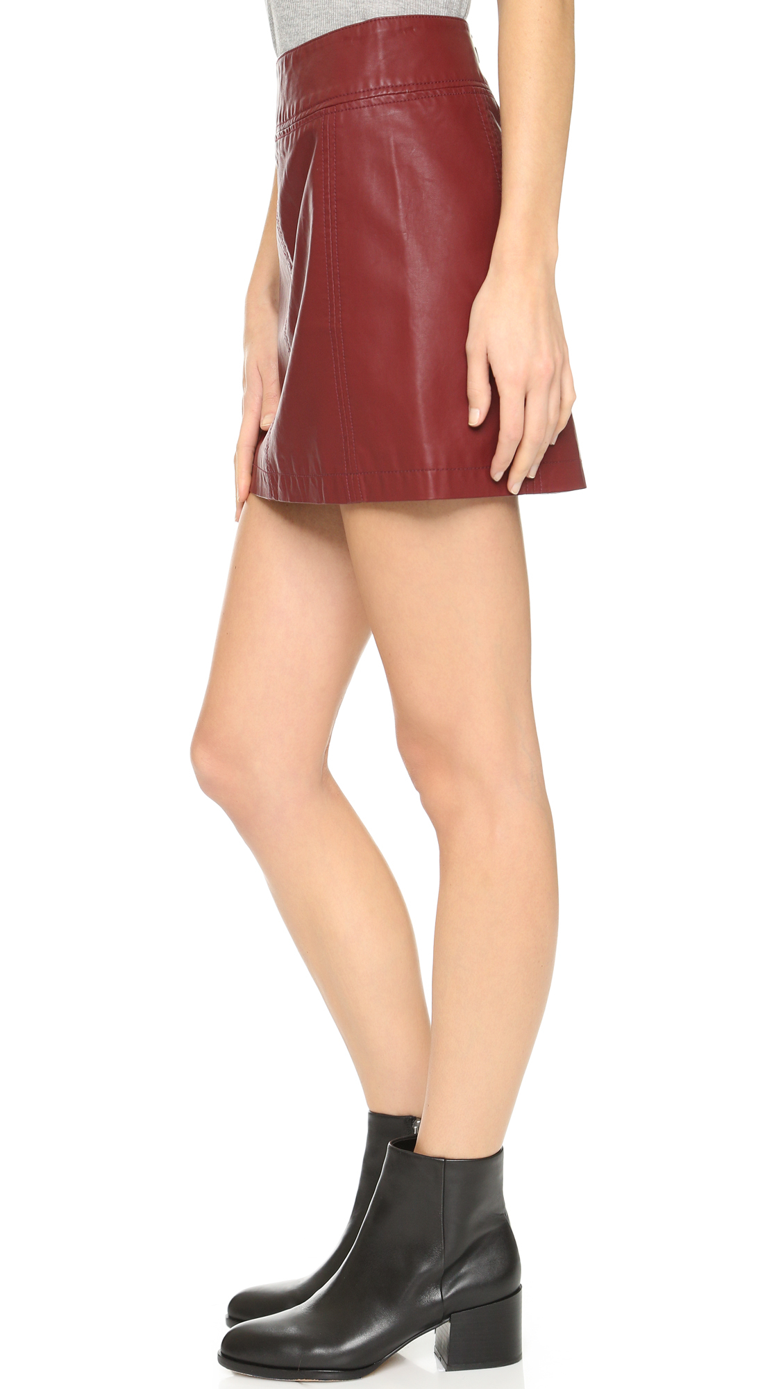 Free people Zip Vegan Leather Miniskirt in Purple | Lyst