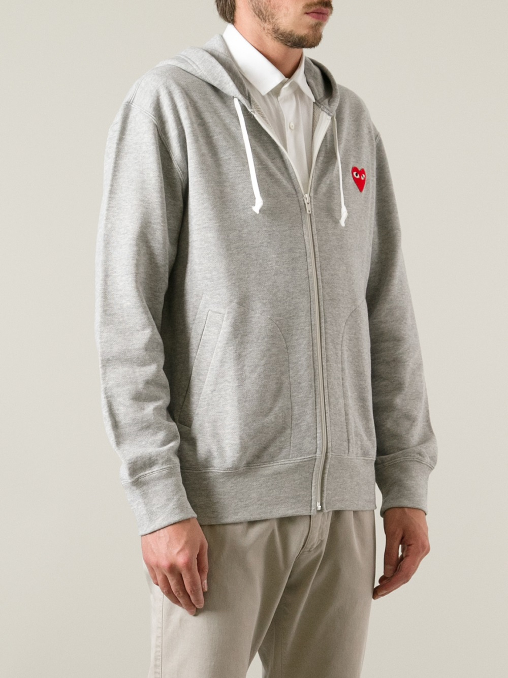 play comme des gar ons embroidered heart hoodie in gray. Black Bedroom Furniture Sets. Home Design Ideas