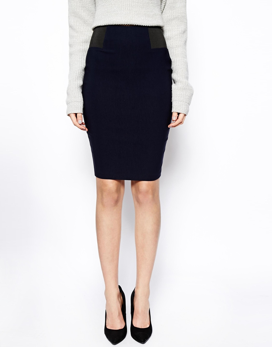 asos high waisted pencil skirt with elastic sides in blue