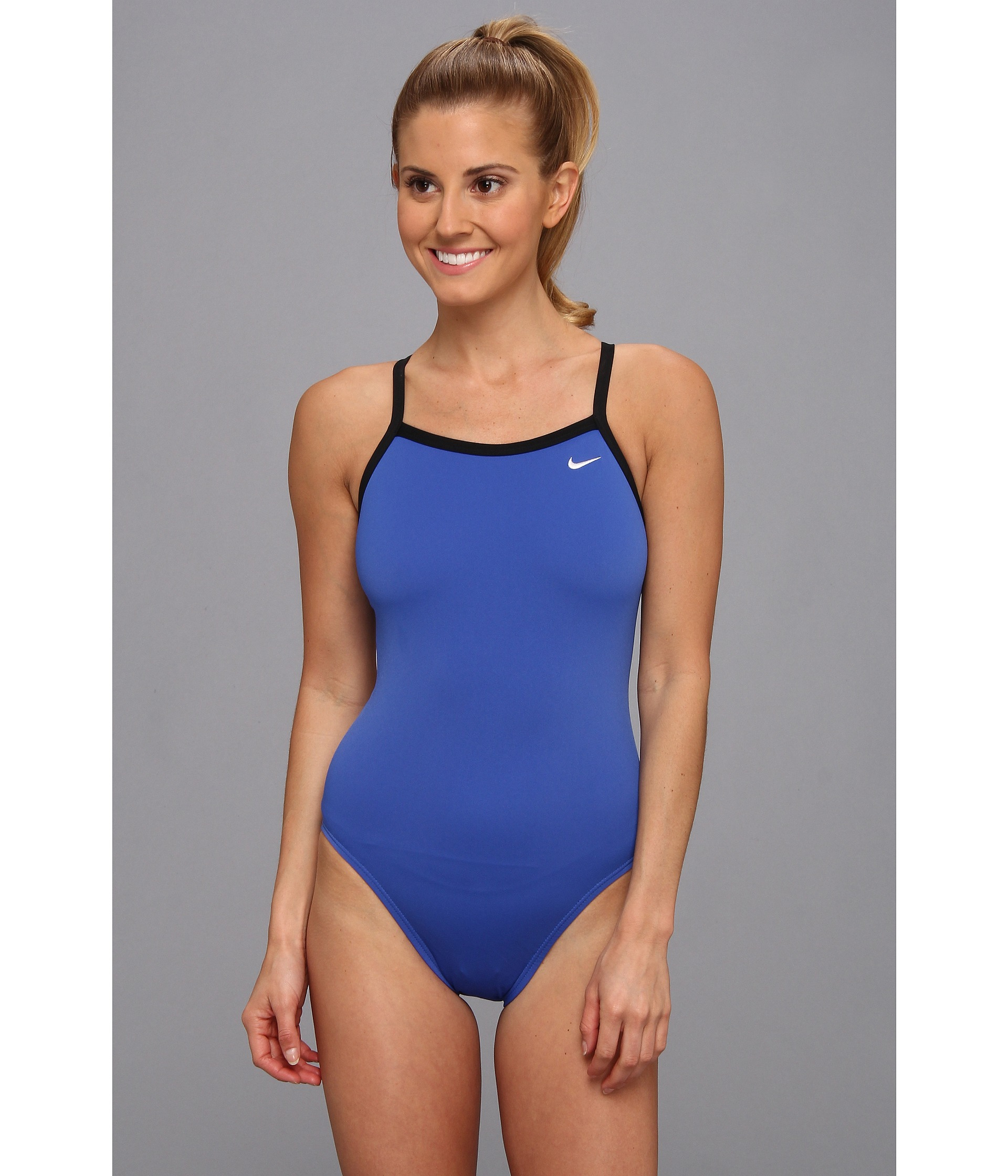 Nike Solid Poly Lingerie Tank One Piece in Blue | Lyst
