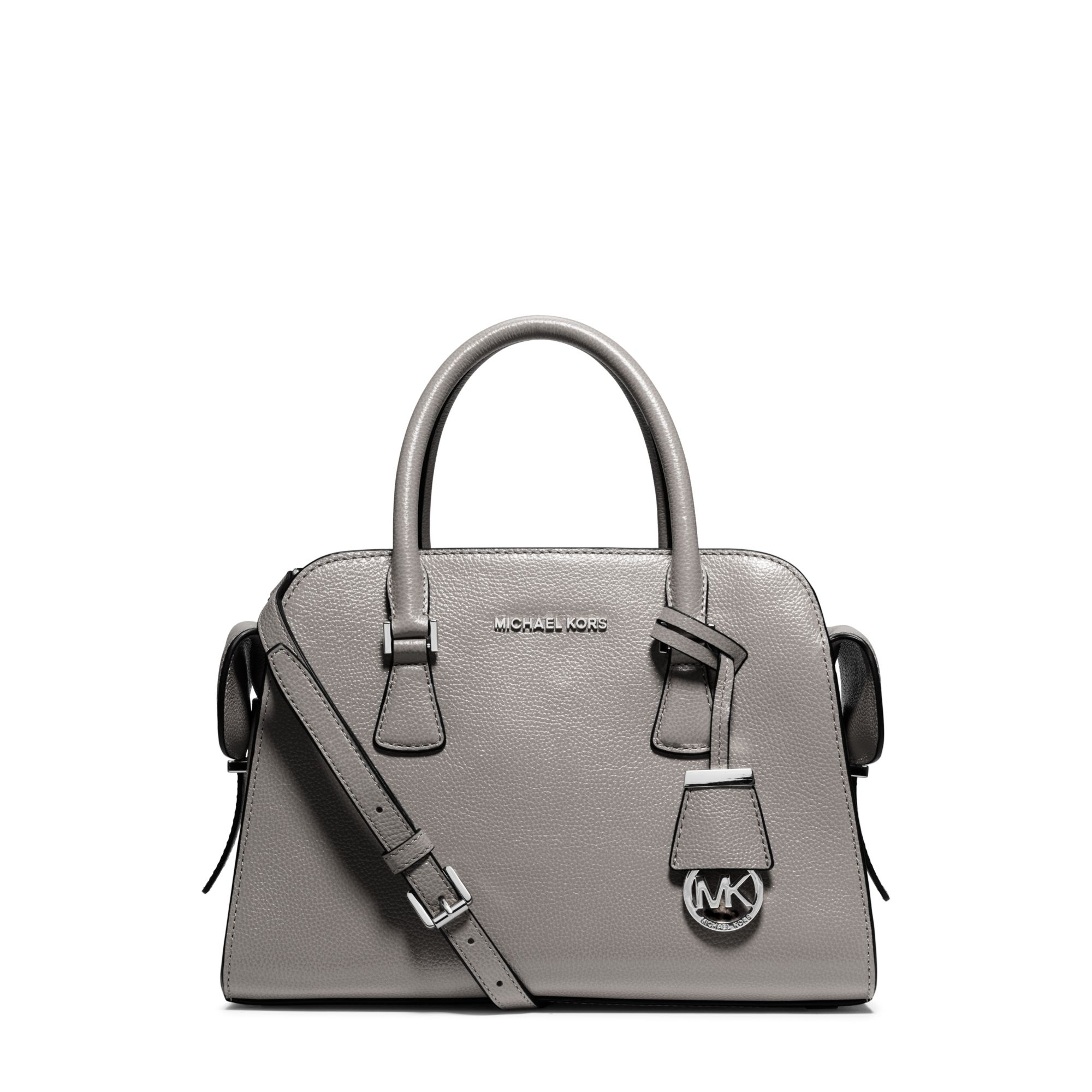 9a7978fae303 Lyst - Michael Kors Harper Medium Leather Satchel in Gray