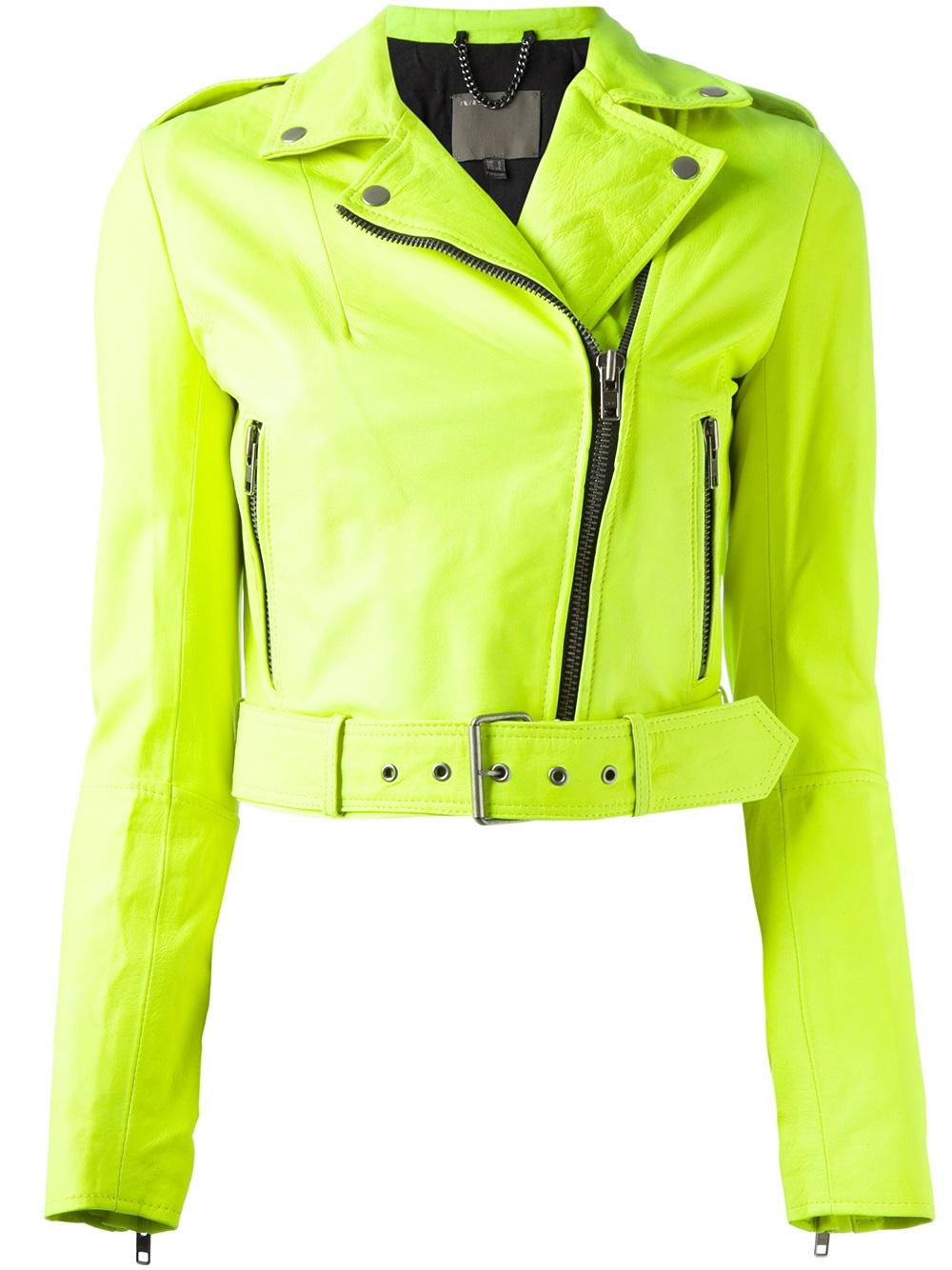 Muubaa Cropped Biker Jacket in Green | Lyst