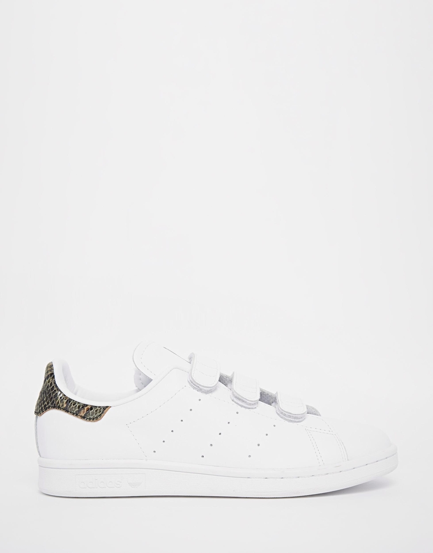 Lyst - adidas Originals Stan Smith With Faux Snakeskin Velcro ... 79ed0c0f36