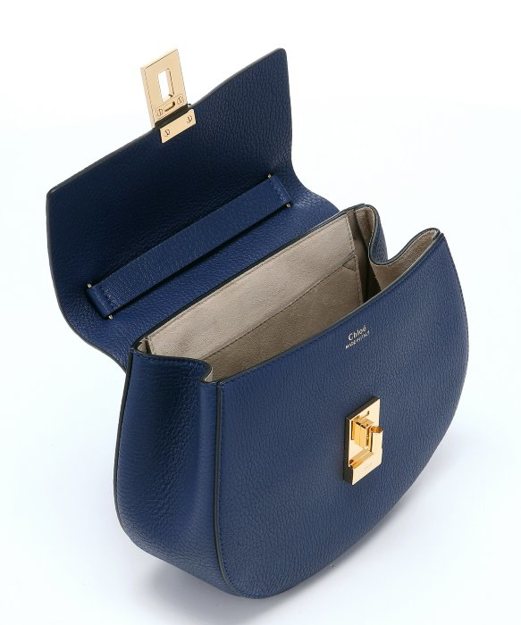 Chloé Navy Lambskin Small 'drew' Chainlink Shoulder Bag in Blue | Lyst