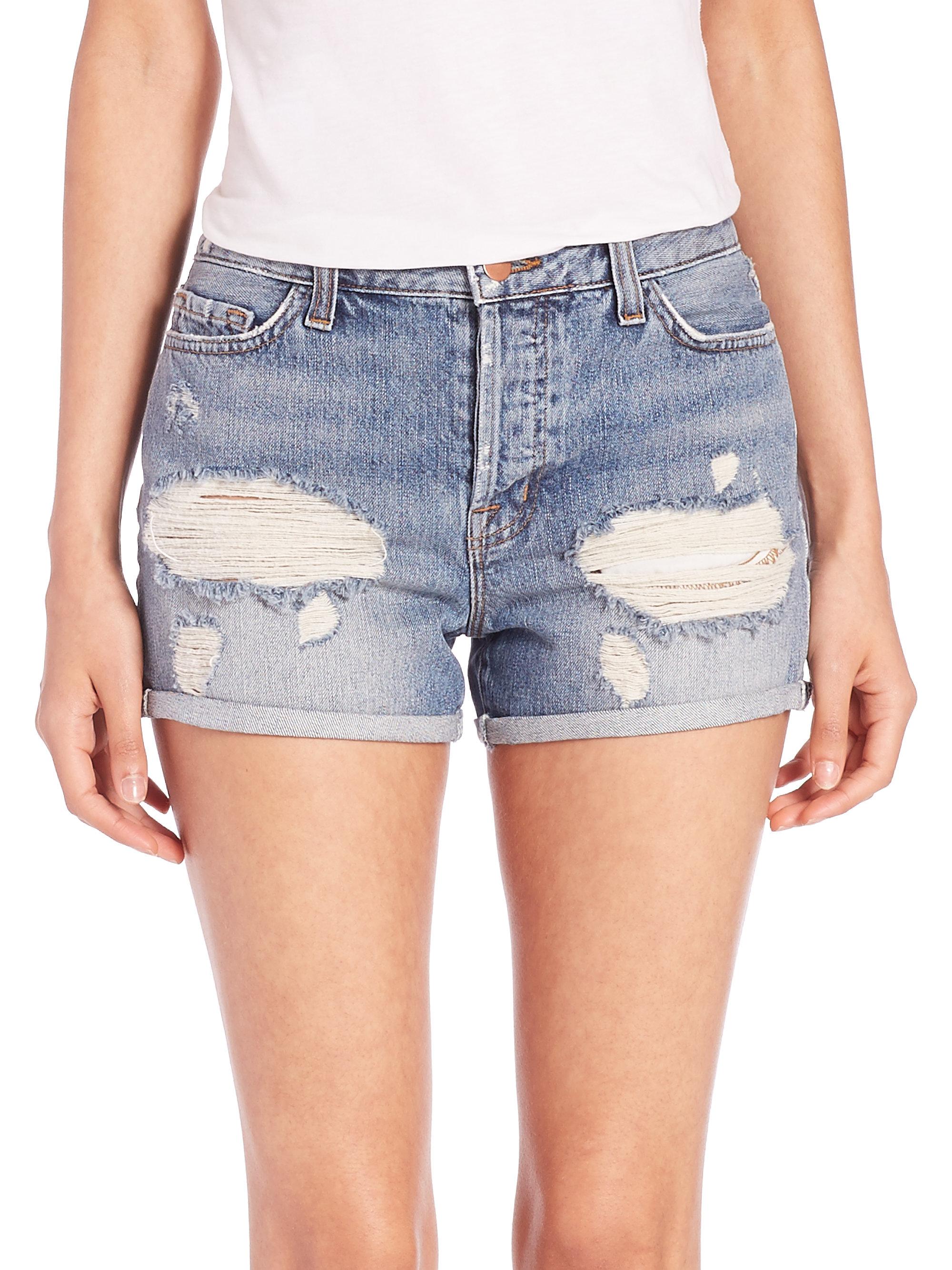 6d1ce32b8b5 J Brand Gracie Distressed High-rise Cuffed Denim Shorts in Blue - Lyst
