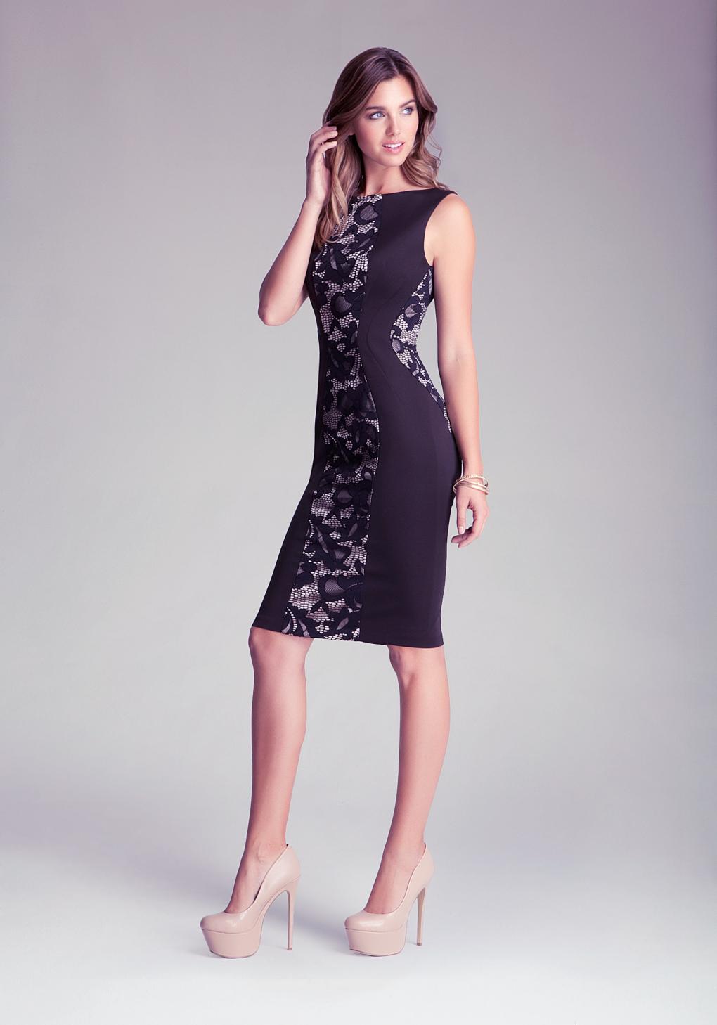 bebe lace ponte midi dress in black lyst. Black Bedroom Furniture Sets. Home Design Ideas