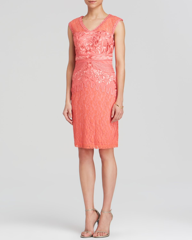sue wong dress sleeveless lace amp soutache in orange