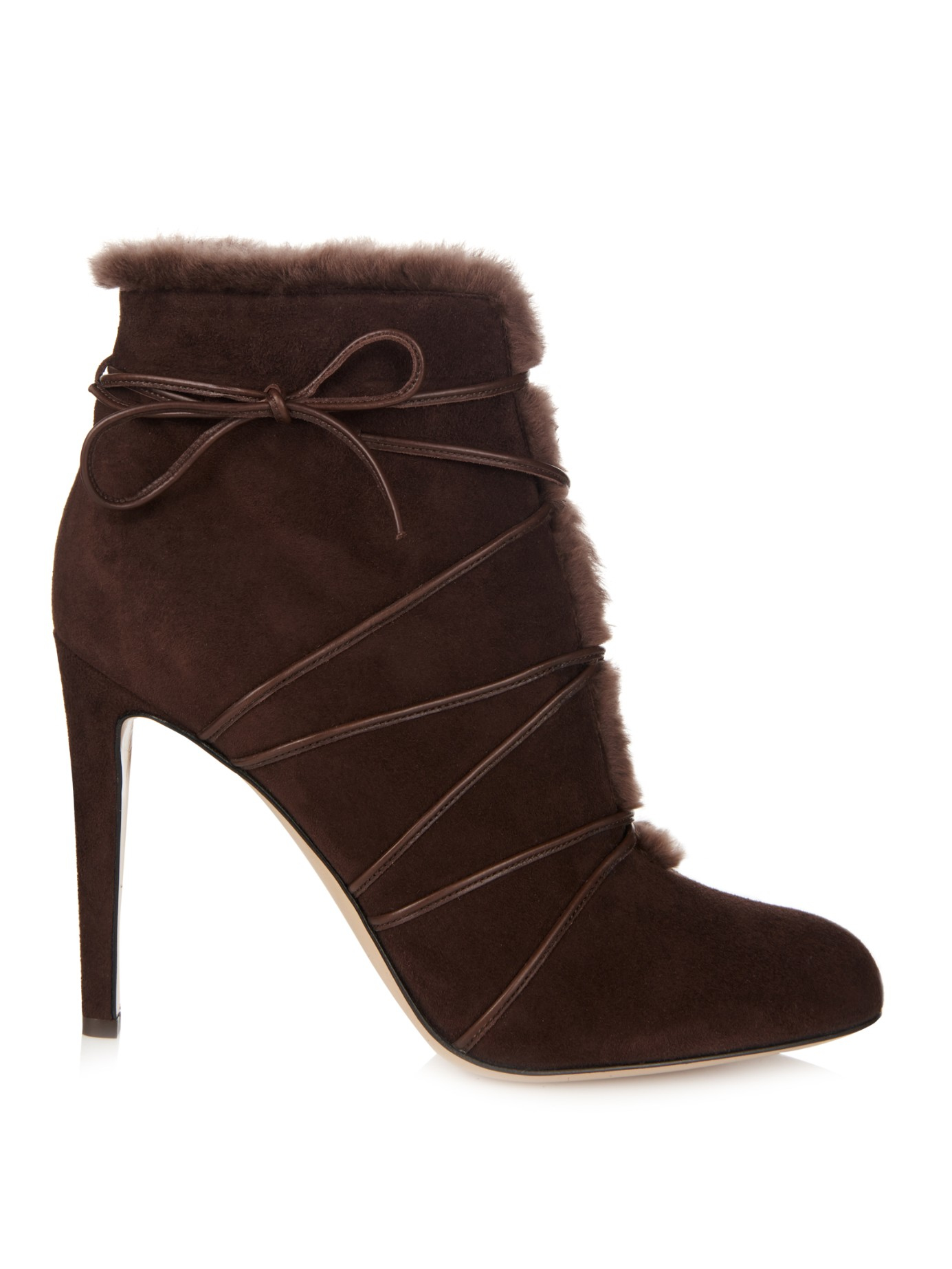 lyst gianvito rossi lace up shearling ankle boots in brown. Black Bedroom Furniture Sets. Home Design Ideas