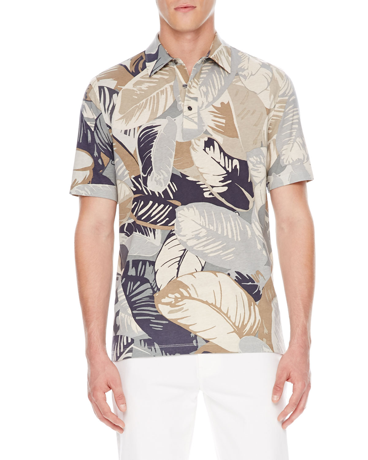 Michael Kors Palm Print Polo Shirt In Multicolor For Men