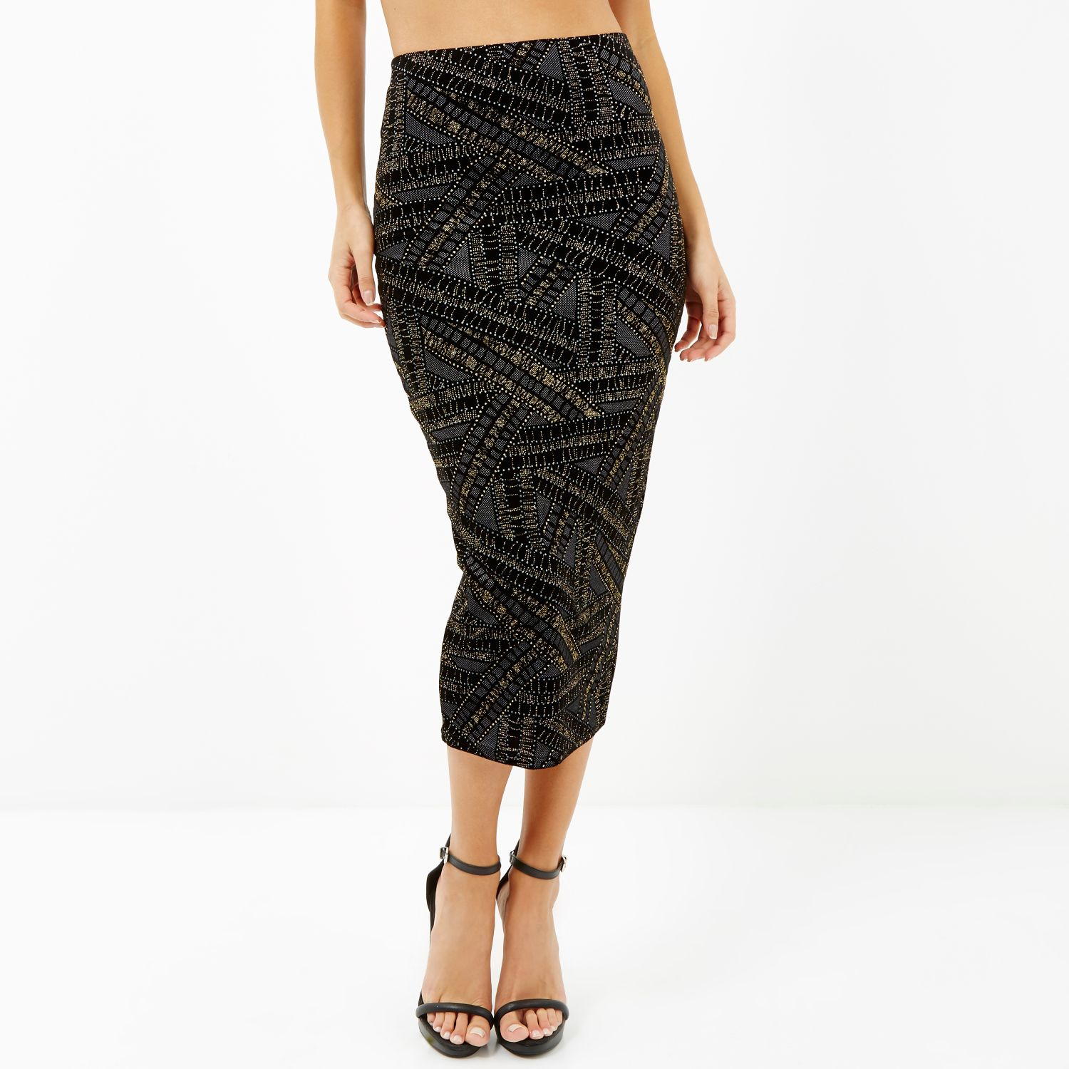 river island black gold sparkle pull on pencil skirt in