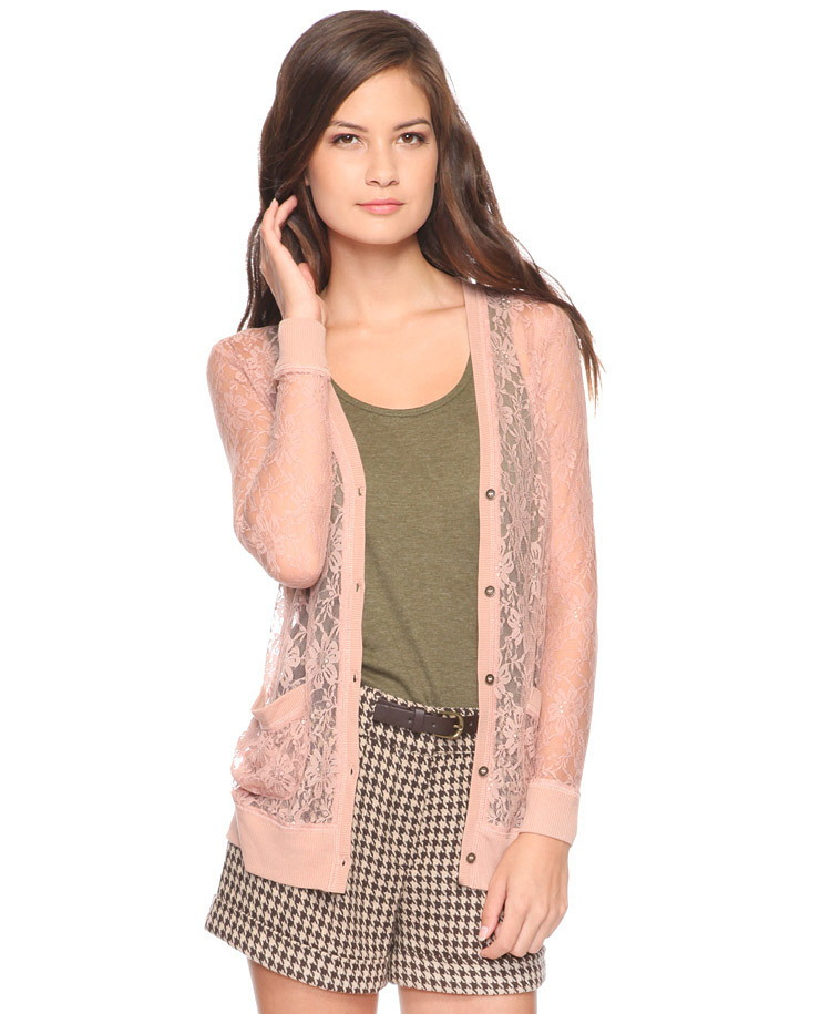 Forever 21 Long Sleeve Lace Cardigan in Pink | Lyst