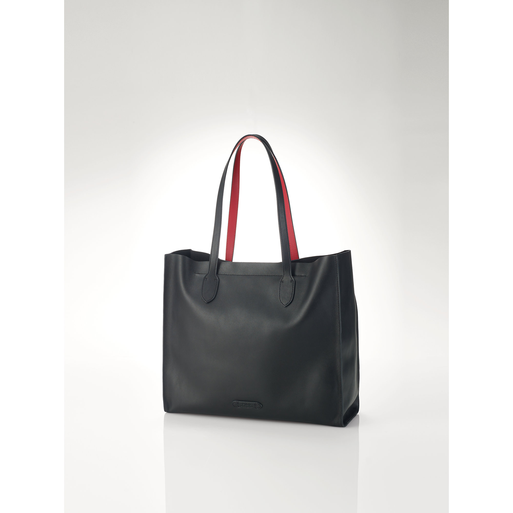 94dd8d0068f1 Lyst - Polo Ralph Lauren Smooth Leather Tote in Black