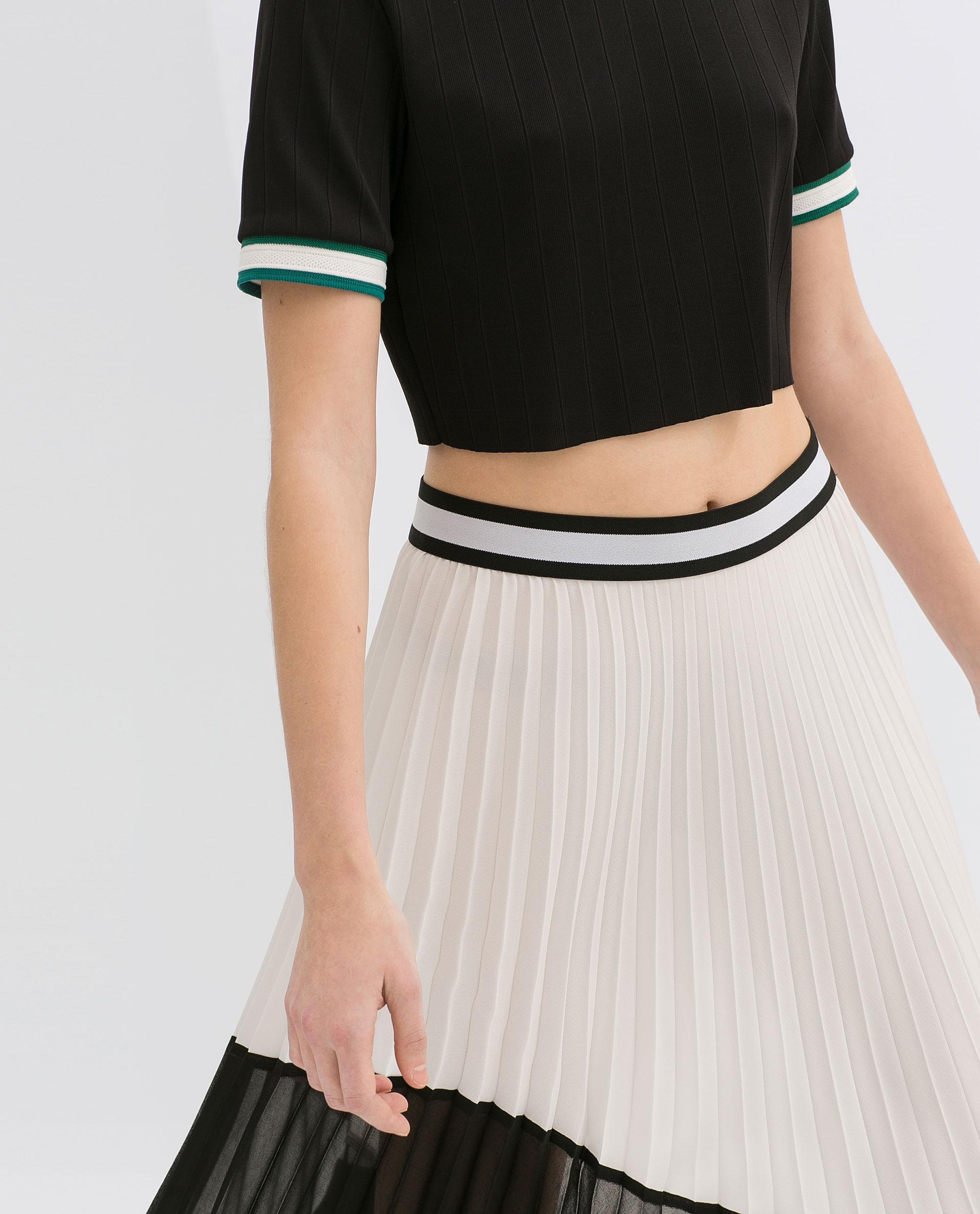 Pleated White Skirt