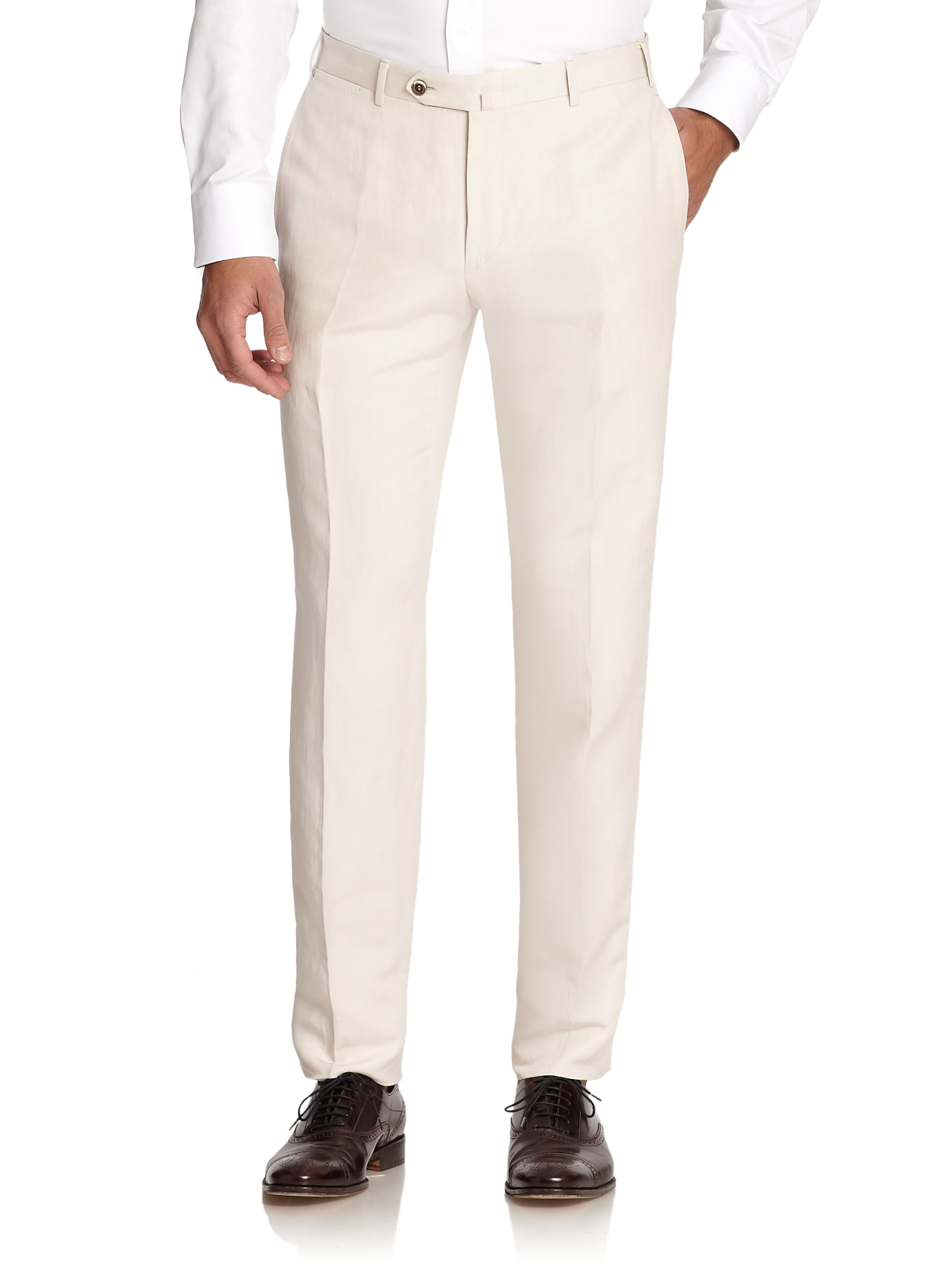 Lyst Canali Linen Amp Silk Trousers In White For Men