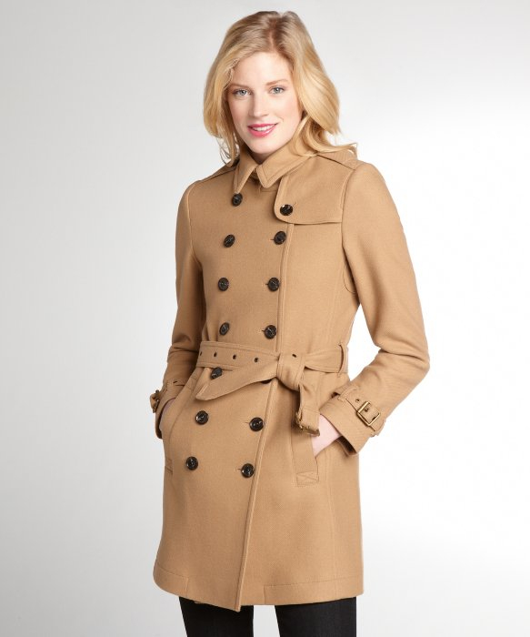 Burberry Camel Wool Blend Trench Coat in Brown | Lyst
