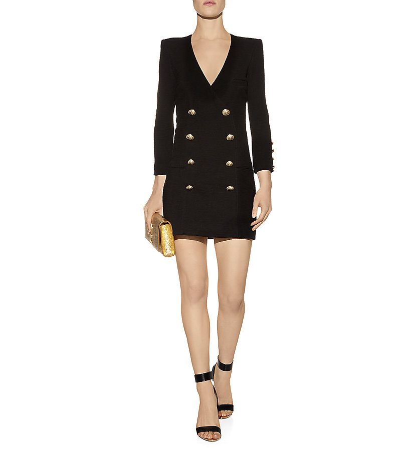 Balmain Double Breasted Mini Dress In Black Lyst