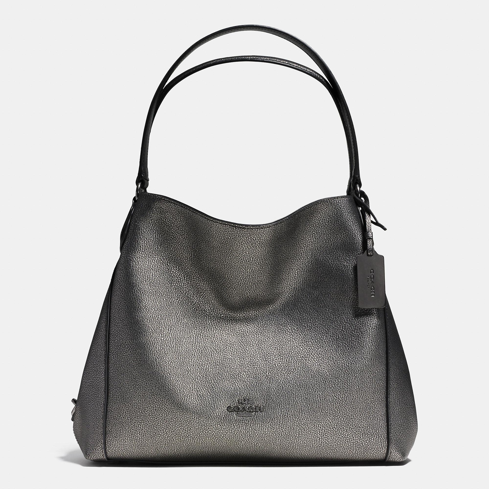 Coach Edie Shoulder Bag 31 In Metallic Pebble Leather in Black | Lyst