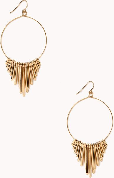 Forever 21 sleek fringe hoop earrings in gold lyst for Forever 21 jewelry earrings