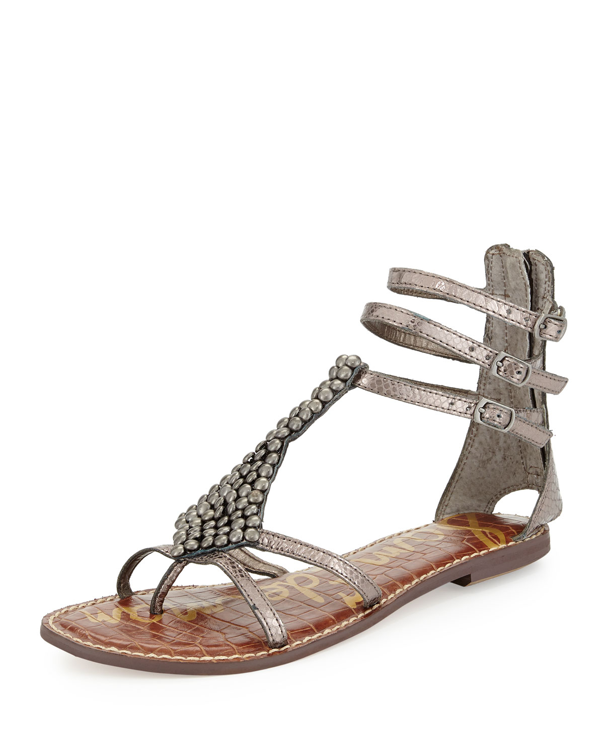 29290ec23e2 Lyst - Sam Edelman Ginger Beaded Metallic Gladiator Sandal