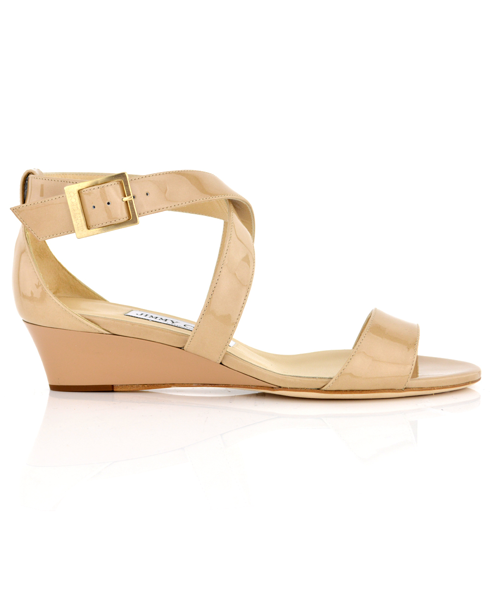 10948d78f73 Lyst - Jimmy Choo Chiara Nude Patent Wedge in Natural