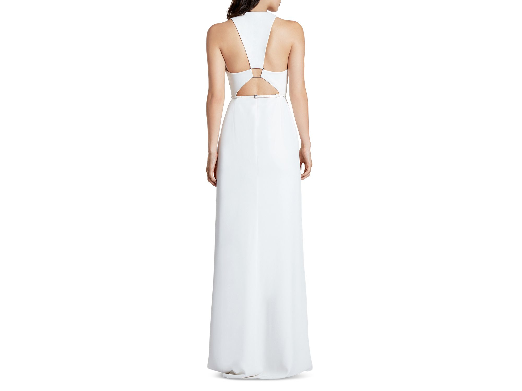 69426569857f Halston Cutout Back Crepe Gown in White - Lyst