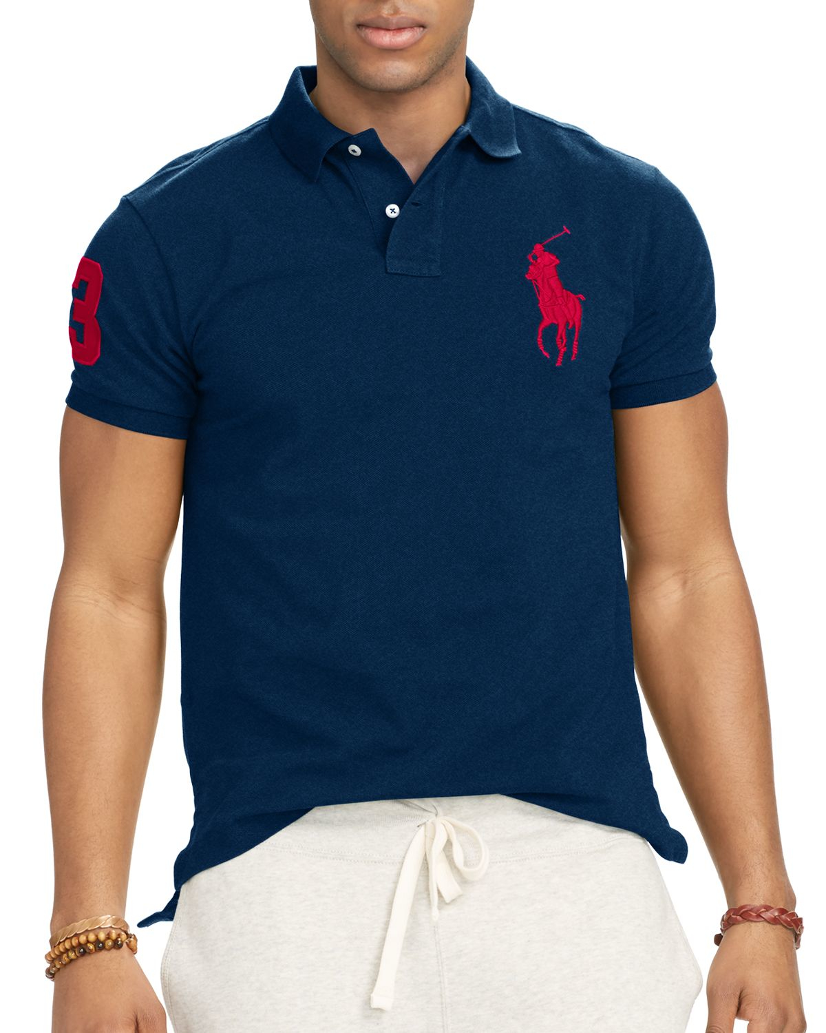 Ralph lauren Polo Custom-fit Big Pony Mesh Slim Fit Polo Shirt in Blue for