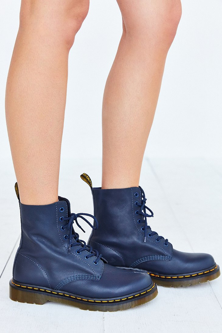 dr martens pascal 8 eye boot in blue lyst. Black Bedroom Furniture Sets. Home Design Ideas