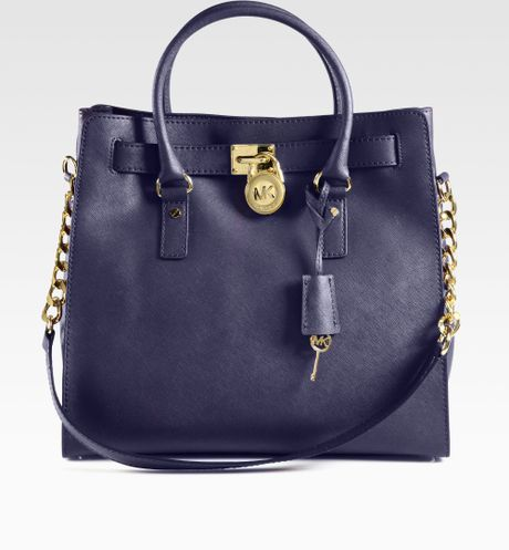 michael kors hamilton padlock saffiano leather tote in blue navy car interior design. Black Bedroom Furniture Sets. Home Design Ideas