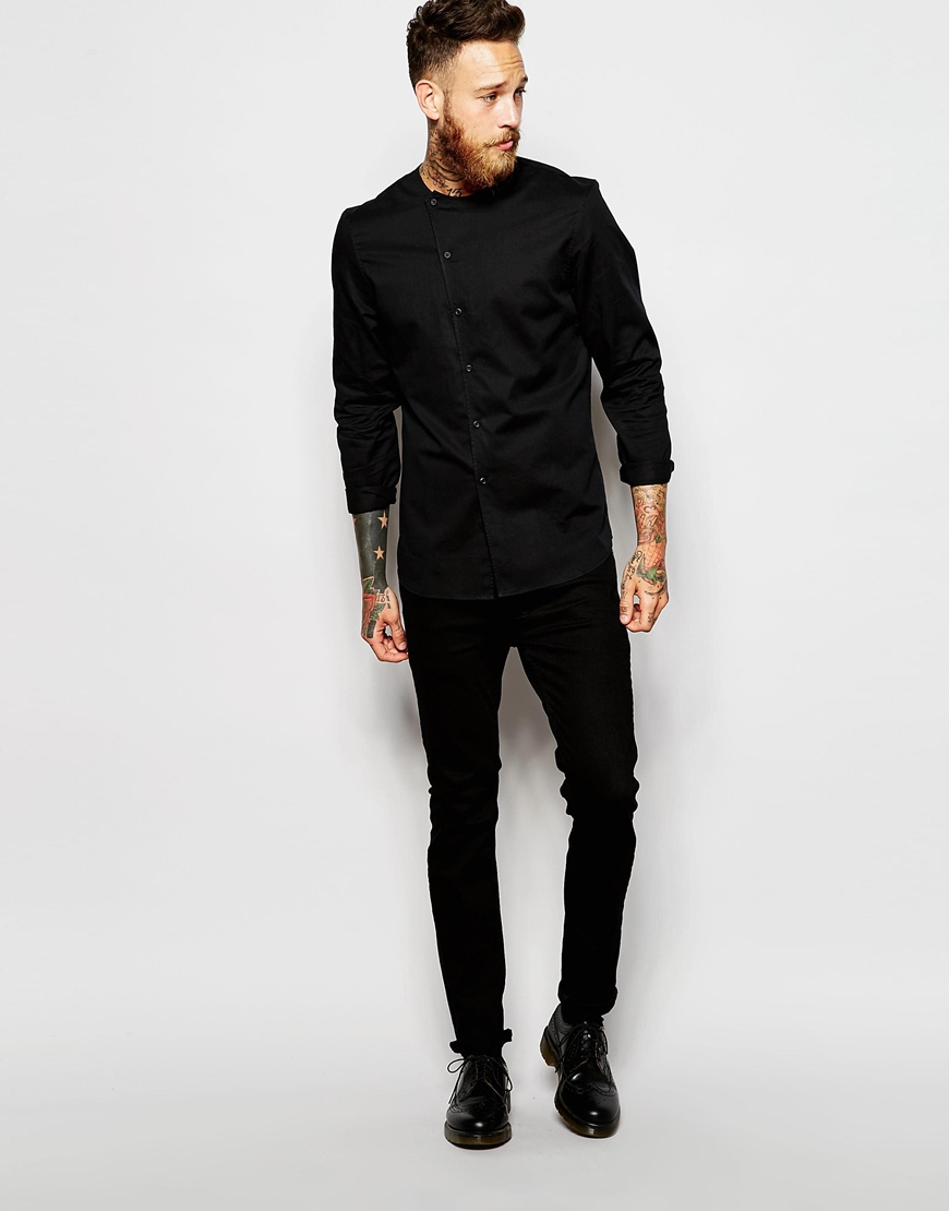 Asos Collarless Shirt With Asymmetrical Placket in Black for Men ...
