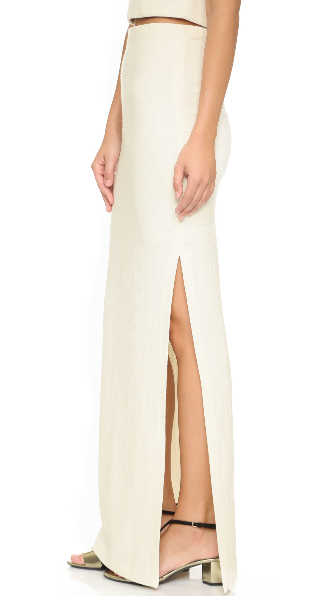 Alice   olivia Misha Fitted Maxi Skirt - Cream in Natural | Lyst