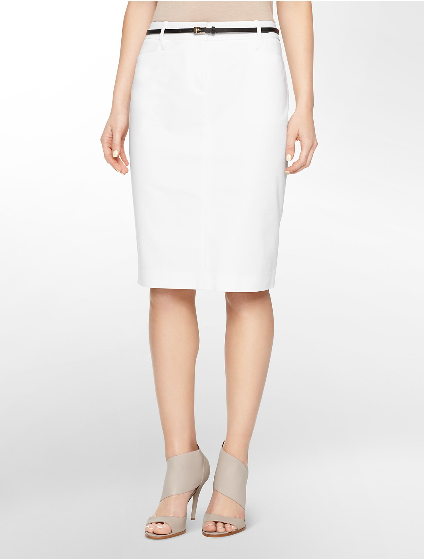 Calvin klein White Label Textured Belted Cotton Blend Pencil Skirt ...