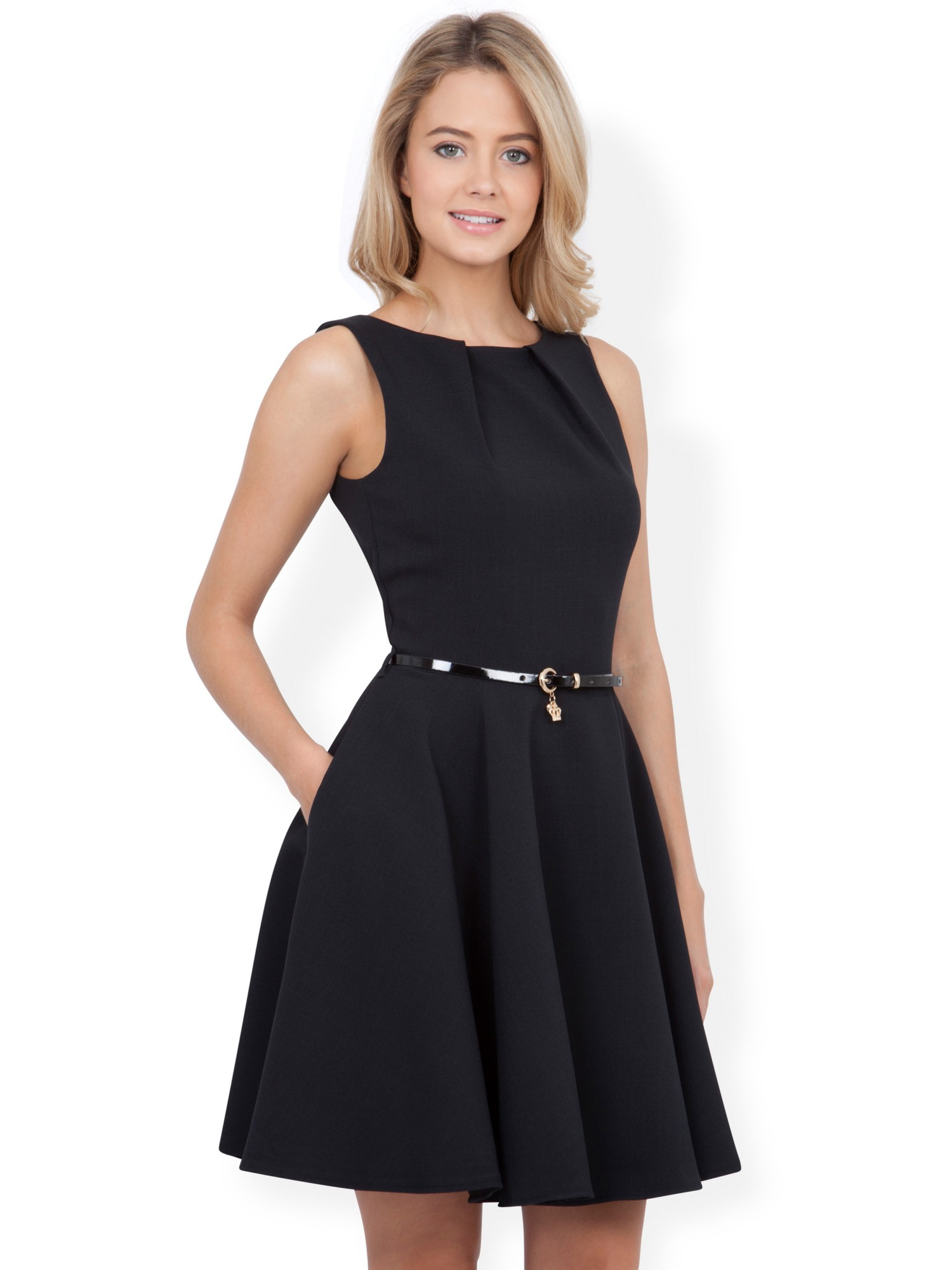 Closet Belted Flare Dress in Black