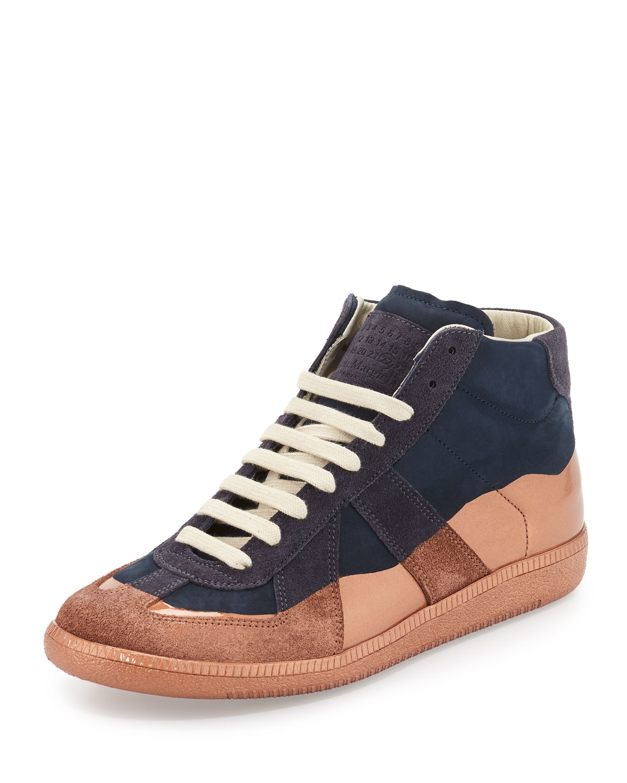 Maison margiela Replica Multicolored Leather High-top Sneaker in Blue | Lyst