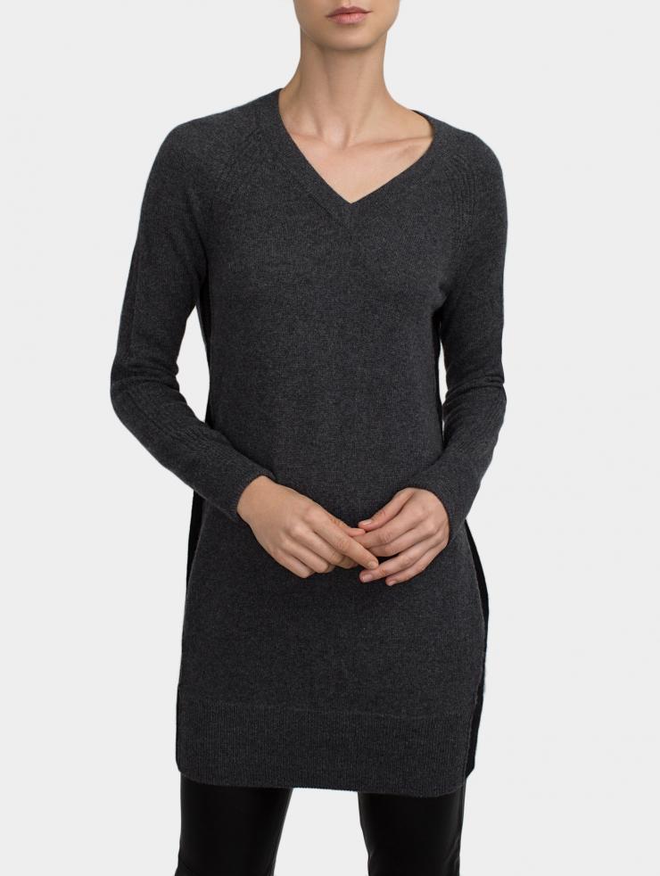 Lyst White Warren Cashmere V Neck Dress In Black