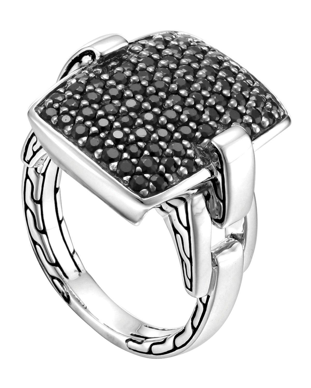 John Hardy Classic Chain Silver Lava Black Sapphire Ring