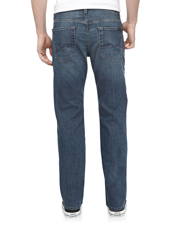 lyst 7 for all mankind standard straight leg jeans in blue for men. Black Bedroom Furniture Sets. Home Design Ideas