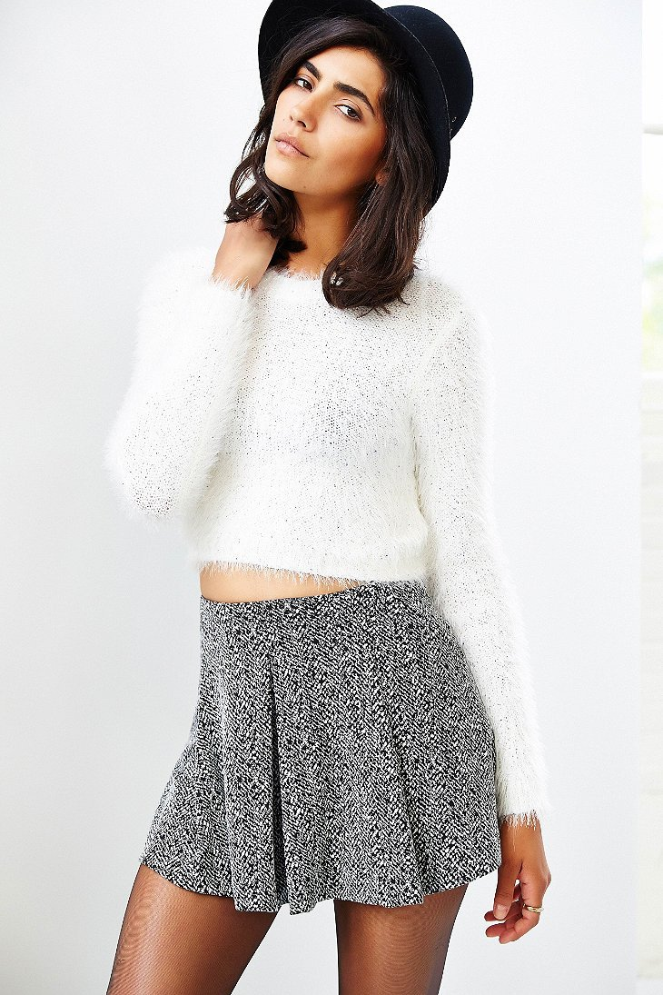 Minkpink Freckles Fuzzy Cropped Sweater in White | Lyst