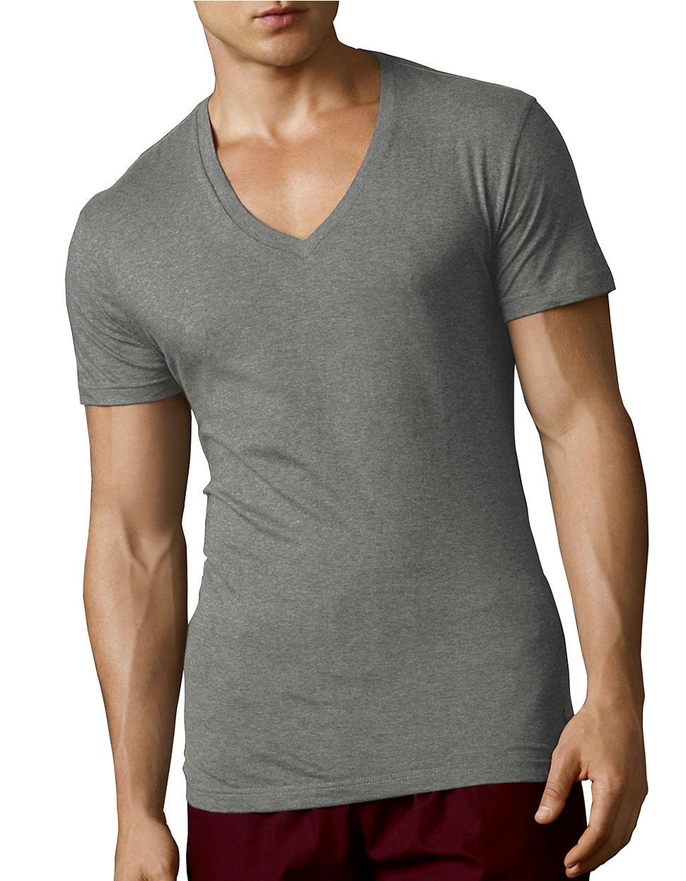 Polo Ralph Lauren Slim Fit V Neck T Shirt Set In Gray For