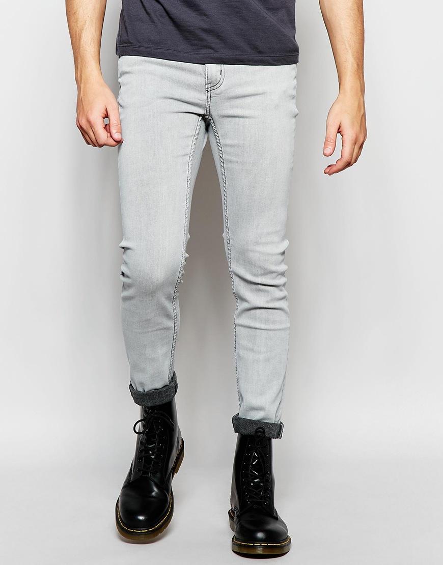 Cheap monday Jeans Tight Stretch Skinny Fit Neutron Grey Bleach ...