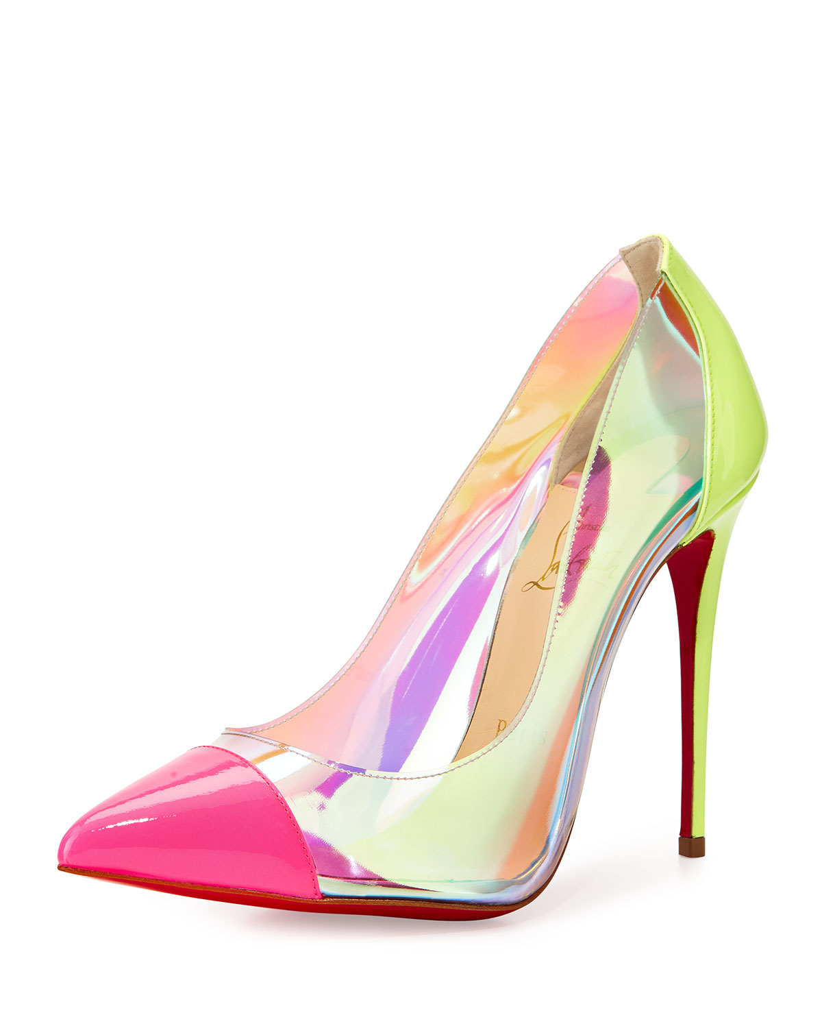 Lyst - Christian Louboutin Debout Patent/pvc Red Sole Pump Christian Louboutin