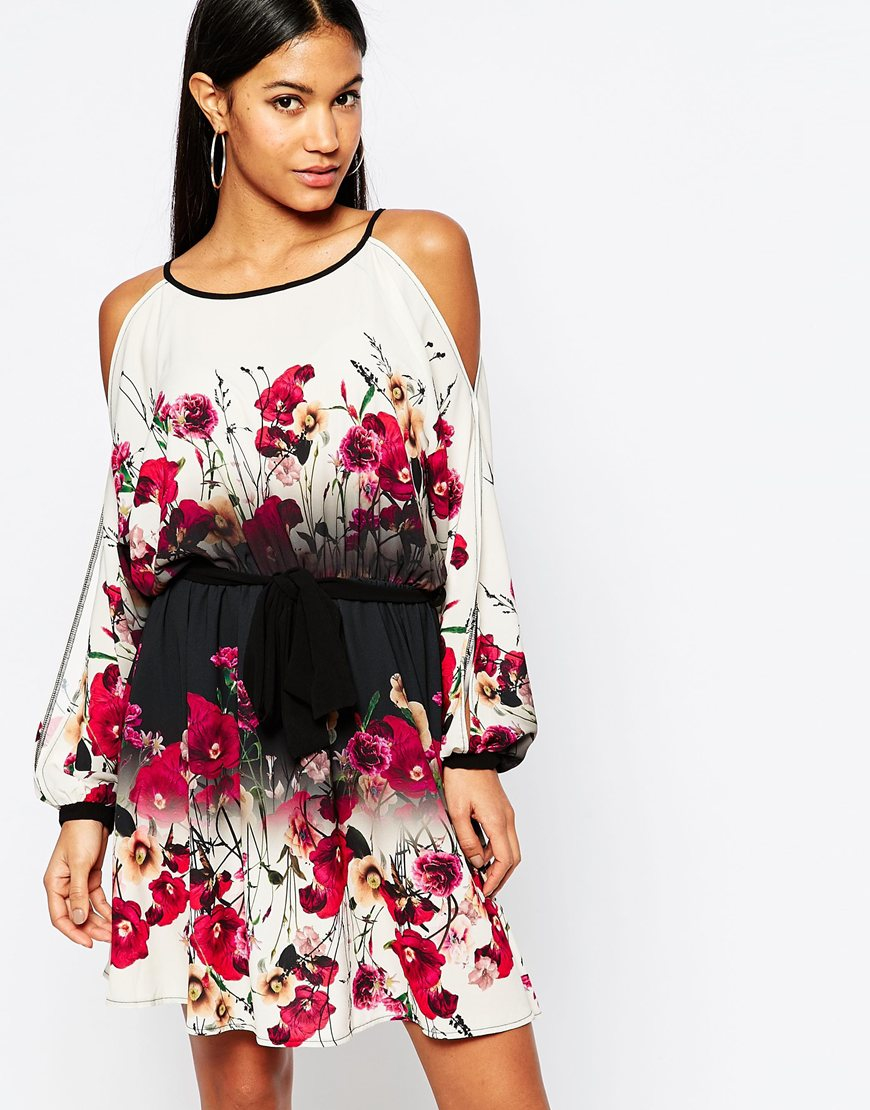 a4dc20b79f87f0 Lipsy Cold Shoulder Swing Dress With Belt In Floral Print - Multi - Lyst