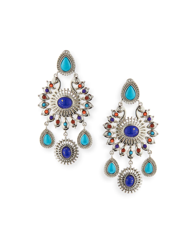 r j graziano global chandelier earrings in blue lyst