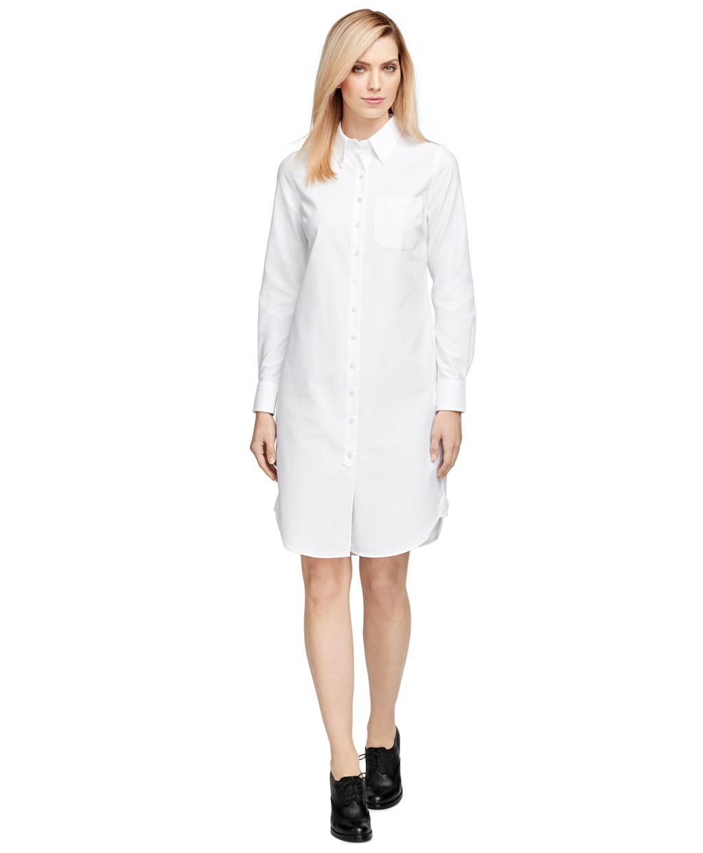 Brooks brothers Cotton Shirt Dress in White