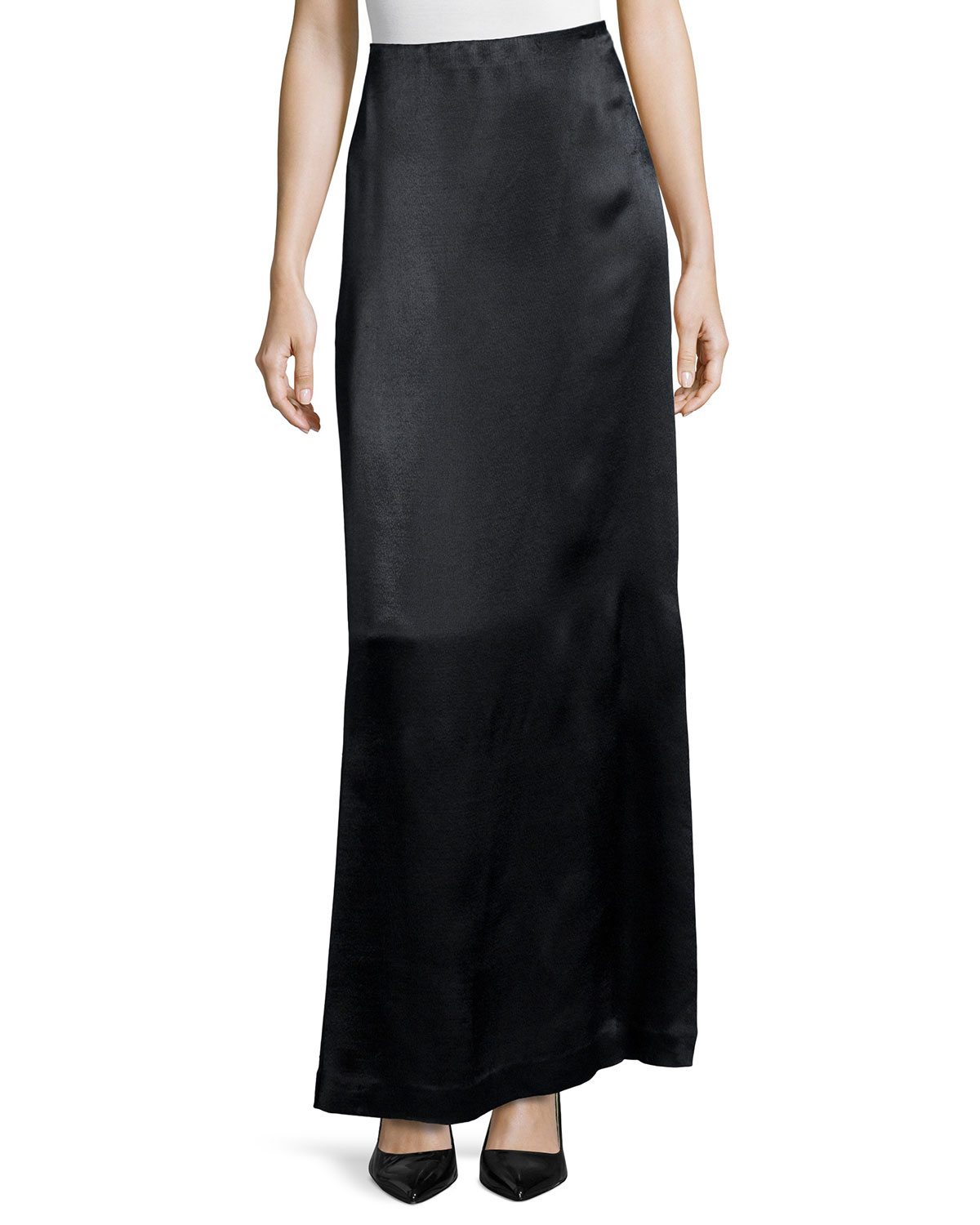 the row pacel satin maxi skirt in black lyst