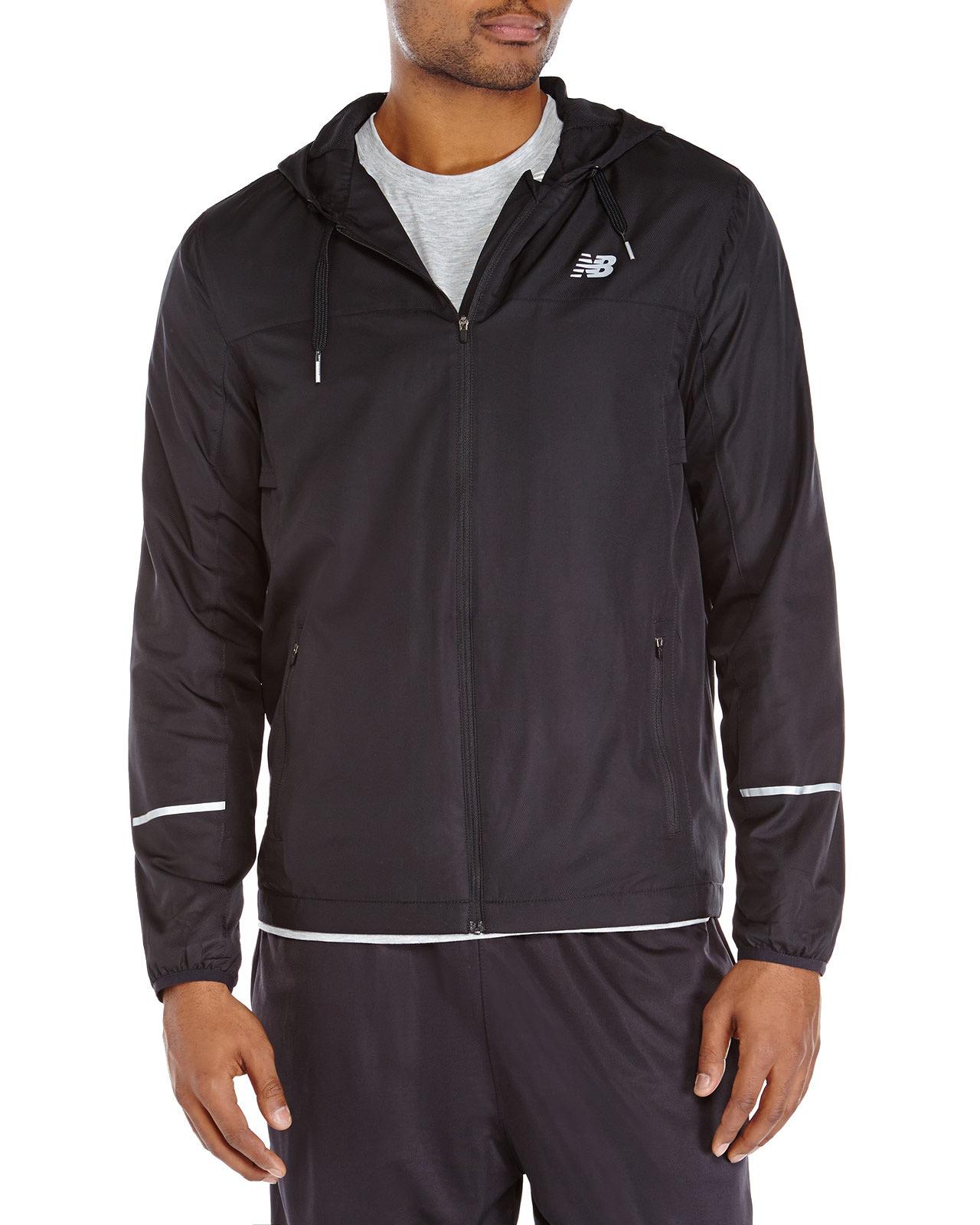 new balance hooded windbreaker jacket in black for men lyst. Black Bedroom Furniture Sets. Home Design Ideas