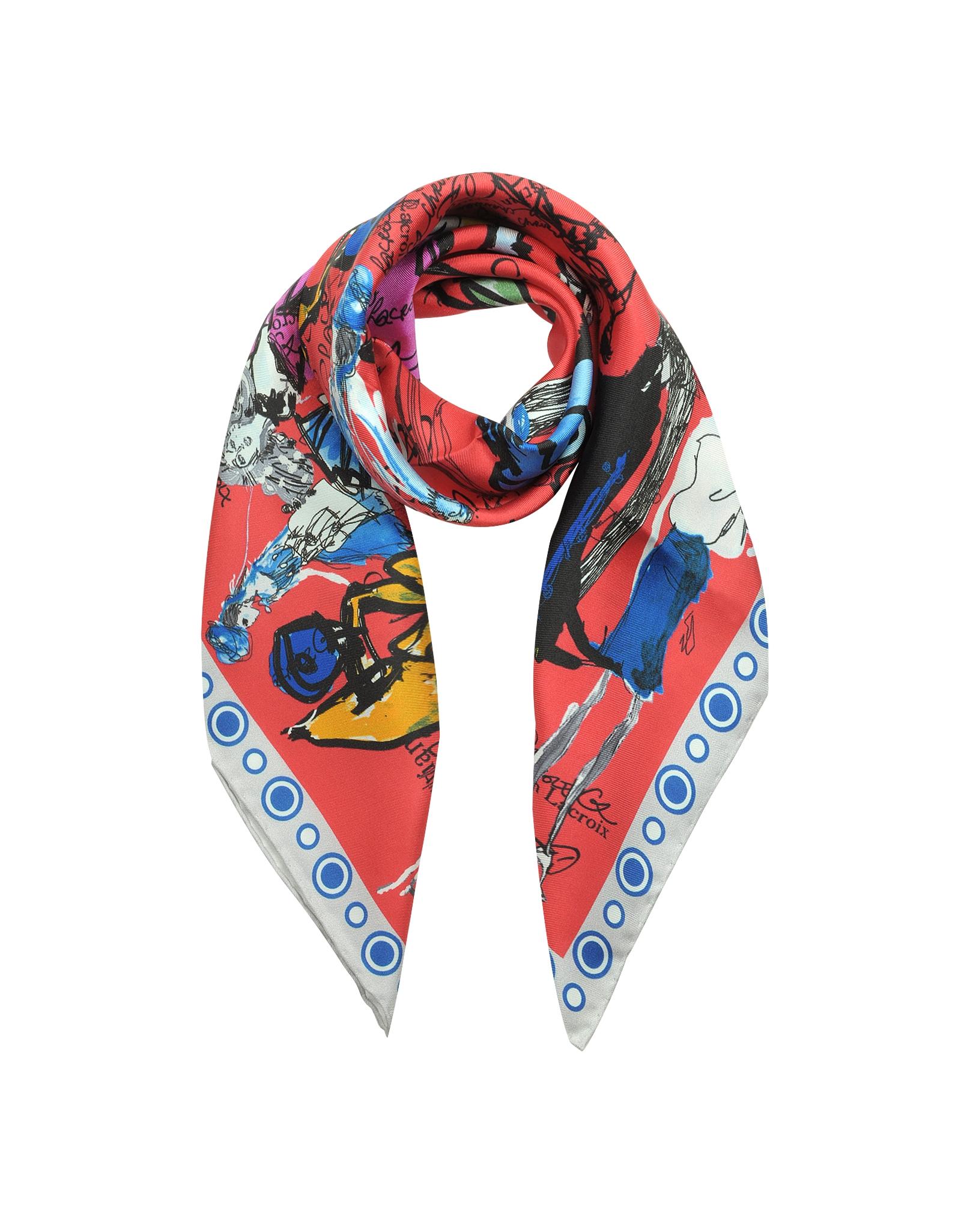 christian lacroix croquis initial print silk square scarf