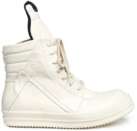 rick owens geobasket cracked leather sneakers in white for men lyst. Black Bedroom Furniture Sets. Home Design Ideas