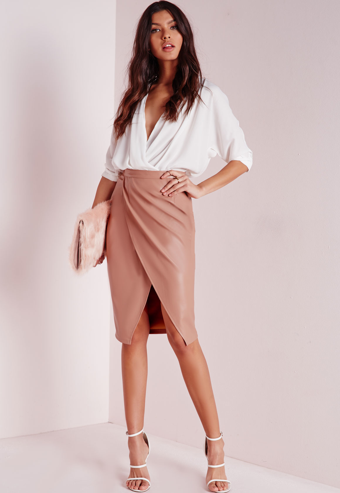 Missguided Faux Leather Wrap Midi Skirt Nude in Pink | Lyst