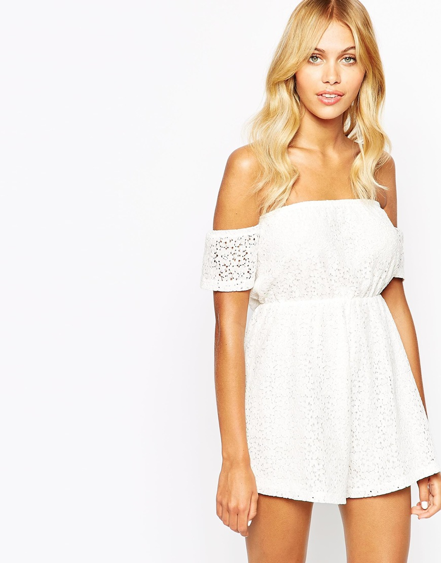 bd30ef9802 Lyst - Fashion Union Off Shoulder Romper In Floral Broderie in White