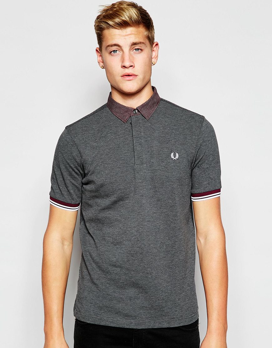 8a87f14ddd7 Lyst - Fred Perry Polo Shirt With Gingham Print In Graphite Marl in ...